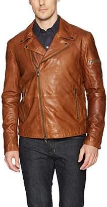 John Varvatos Men's Leather Moto Jacket with Asymmetrical Zip Closure