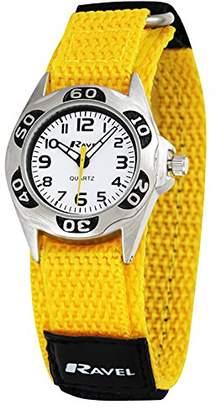 Ravel Children's Yellow and Black Easy Fasten Action Strap Watch.