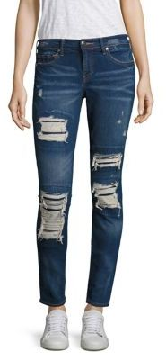 True Religion Halle Distressed Super Skinny Jeans/Indigo Cadence $229 thestylecure.com