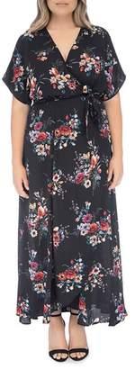 Bobeau B Collection by Curvy Wren Floral Wrap Maxi Dress