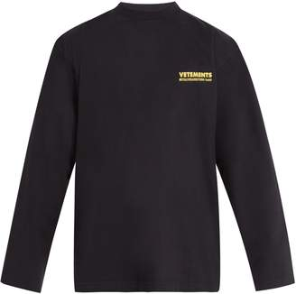 Vetements Logo-print long-sleeved cotton T-shirt