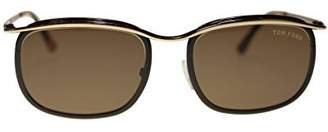 Tom Ford Square Mens Sunglasses FT0419 50J Dark Brown Gold/Roviexmm Authentic