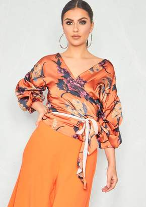 c89e5818e74410 Missy Empire Missyempire Courtney Orange Satin Floral Ruched Sleeve Wrap Top