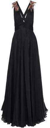 Emilio Pucci Knotted Embellished Pleated Silk-Chiffon Gown