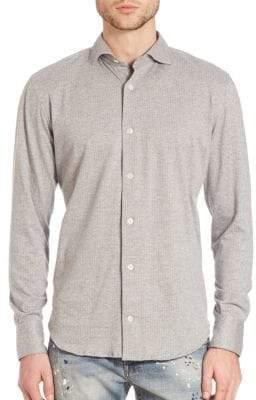 Eleventy Jacquard Printed Spread Collar Knit Shirt