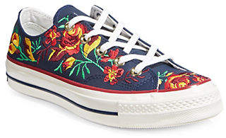 Converse Floral Leather Platform Sneakers