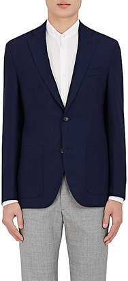 Barneys New York Men's Brad Wool Hopsack Two-Button Sportcoat-Navy $525 thestylecure.com