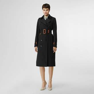 Burberry Leather Detail Cotton Gabardine Trench Coat