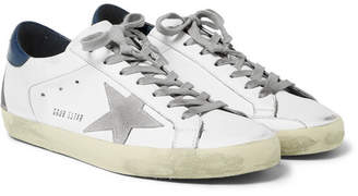 Golden Goose Superstar Distressed Suede And Leather Sneakers - White
