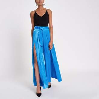 River Island Womens Blue split wide leg pant