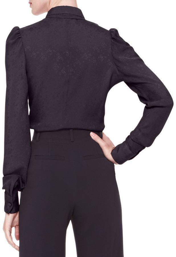 Zac Posen Long-Sleeve Collared Button-Up Blouse
