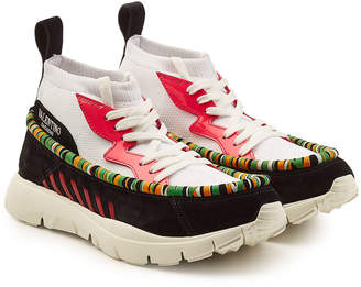 Valentino High-Top Sneakers with Mesh, Patent Leather and Suede