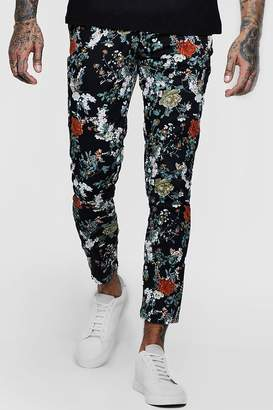 boohoo Floral Print Tapered Chino