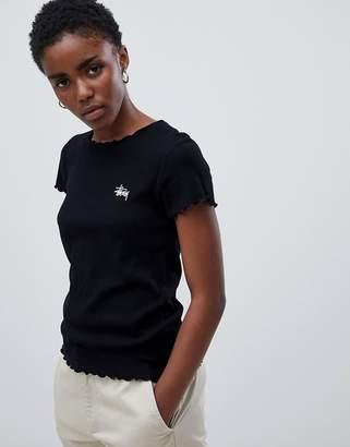 Stussy Shrunken T-Shirt With Crinkle Frill Trim