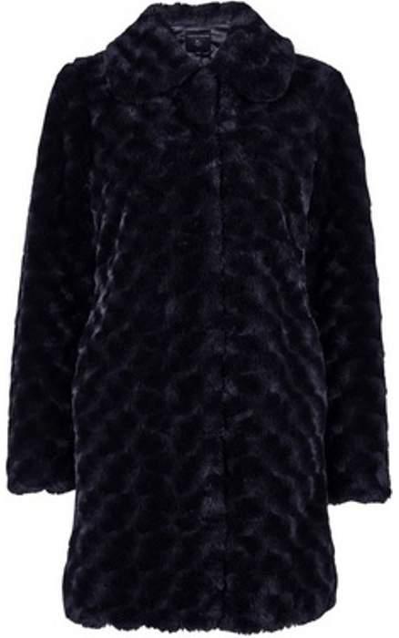 Womens Midnight Swirl Faux Fur Coat