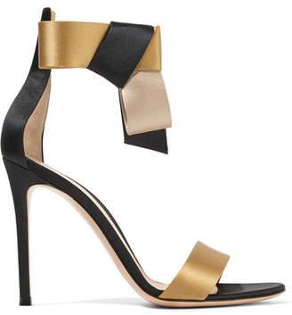 Geisha Bow-embellished Satin Sandals - Black