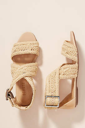 Schutz Woven Jute Criss-Cross Sandals