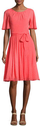 Kate Spade Silk Chiffon Clipped Polka-Dot Dress, Paprika
