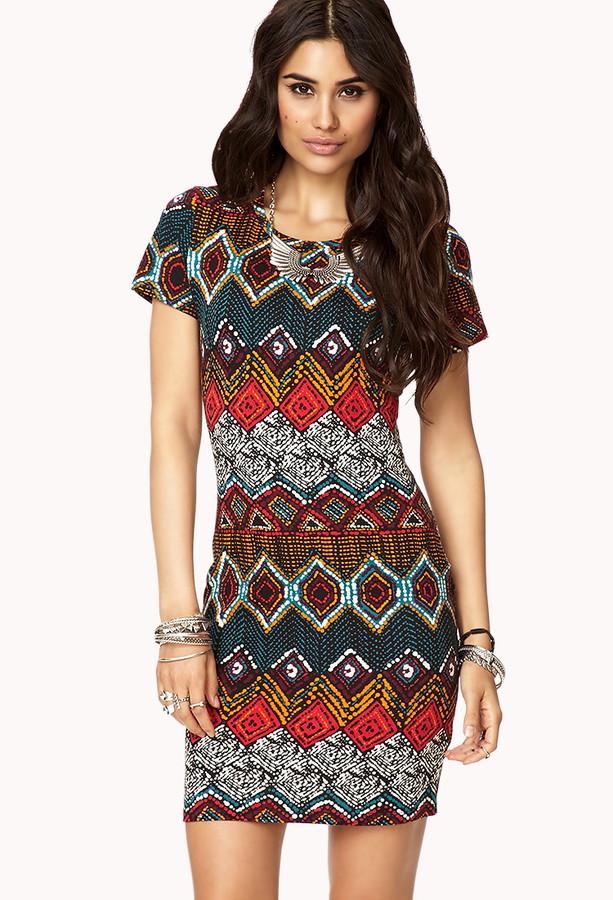 Forever 21 Tribal Print T-Shirt Dress