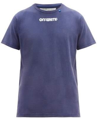 Off-White Off White Skull Logo Print Cotton T Shirt - Mens - Blue White