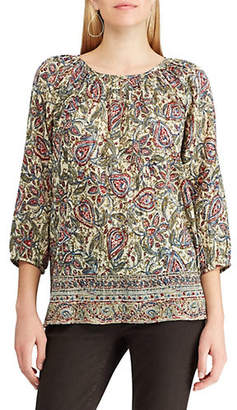 Chaps Petite Relaxed-Fit Paisley-Print Blouse