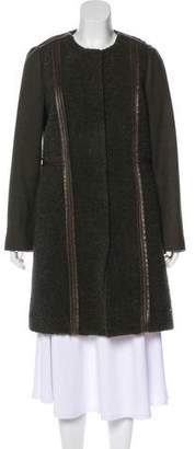 Tory Burch Leather-Trimmed Wool Coat