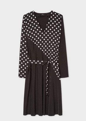 Paul Smith Women's Black And White Polka Dot V-Neck Shirt Dress