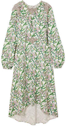 Dodo Bar Or - Crystal-embellished Floral-print Crepe Dress - Green