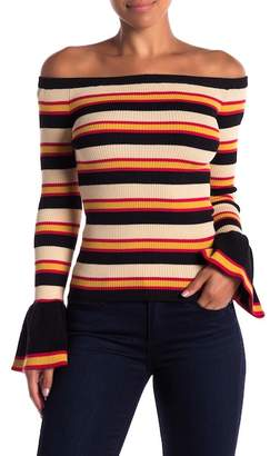 Jealous Tomato Striped Off-the-Shoulder Sweater
