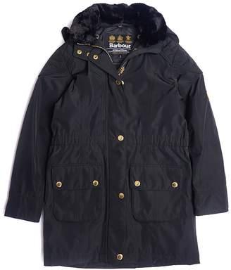 Barbour Girls International Garrison Waterproof Faux Fur Collar Coat