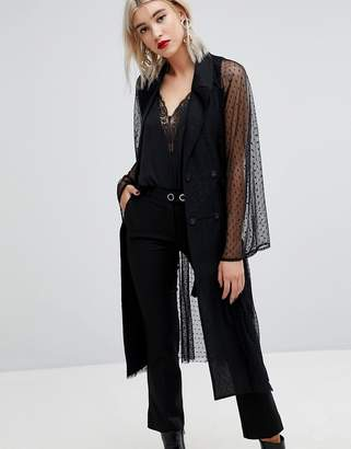 Lost Ink Tuxedo Blazer In Sheer Spot Mesh
