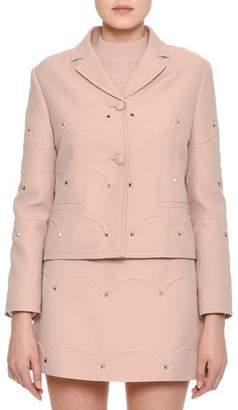 Valentino Rockstud Scalloped Crepe Jacket