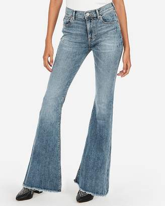 Express Mid Rise Raw Hem Stretch Bell Flare Jeans