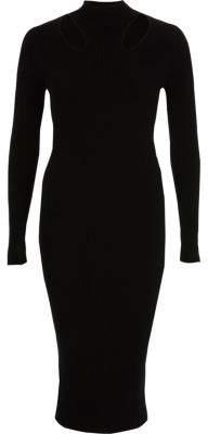 River Island Womens Black ribbed high neck bodycon midi dress