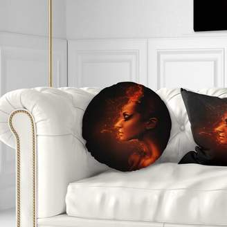 East Urban Home Burning Woman Head Throw Pillow East Urban Home