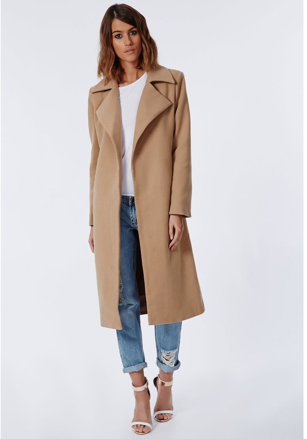 Khloe Oversized Premium Waterfall Coat Camel 7