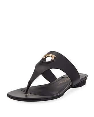 "Salvatore Ferragamo Enfola"" Leather Thong Sandal with Cutout Logo"