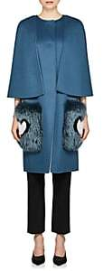 Fendi Women's Fur-Trimmed Wool Coat - Blue