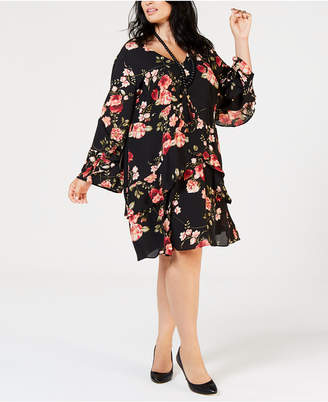 Robbie Bee Plus Size Floral Printed Tiered Dress