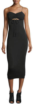 Alexander Wang Stretch-Jersey Sleeveless Fitted Dress with Cutout and Ties