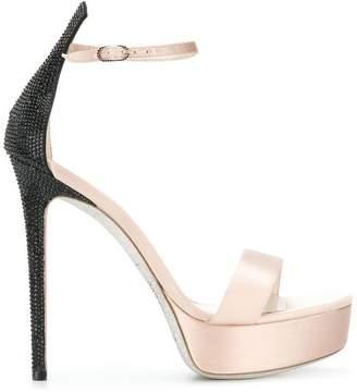 Rene Caovilla contrast embellished platform sandals