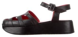Stephane Kélian Leather Flatform Sandals Black Stephane Kélian Leather Flatform Sandals