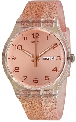 Swatch Glistar Pink Gold Dial Pink Silicone Ladies Watch