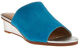Judith Ripka Leather Wedge Slide Sandals -Jaimie