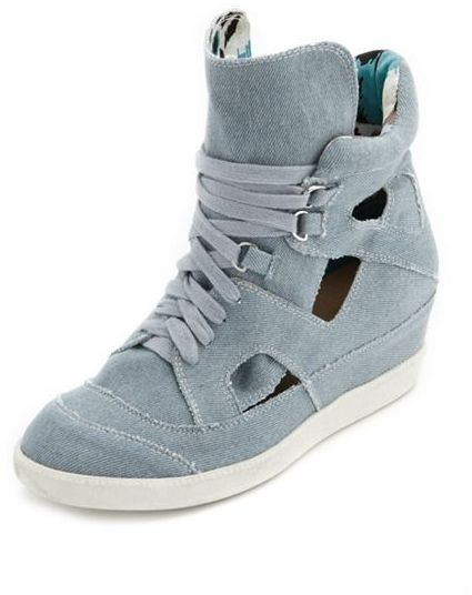 Charlotte Russe Cutout Chambray Wedge Sneaker