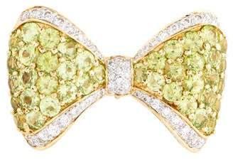 18K Peridot & Diamond Bow Brooch