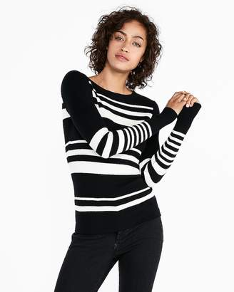 Express Striped Fitted Crew Neck Pullover Sweater
