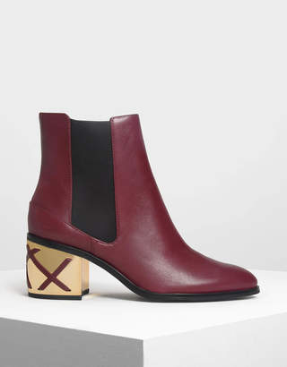 Charles & Keith Weave Detail Chrome Heel Leather Boots