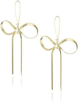 Betsey Johnson Large Textured Bow Drop Earrings