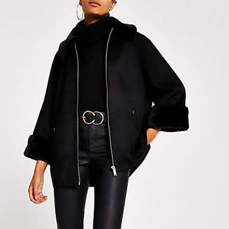 River Island Black faux suede cape jacket